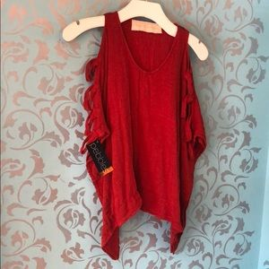 NWT Jen's Pirate Booty Mystic Gauze Top, Red